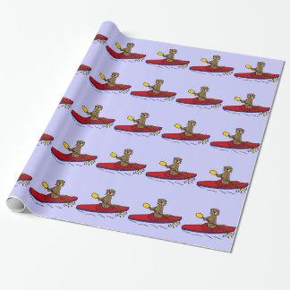 Papier Cadeau Loutre drôle Kayaking