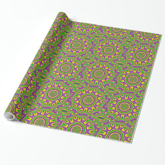 Papier Cadeau Mandala pourpre jaune vert de motif de mardi gras