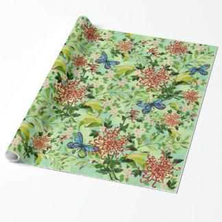 Papier Cadeau Marguerites et papillons d'aquarelle