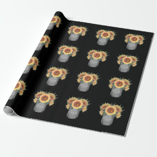 Papier Cadeau Mariage rustique de tournesol de pot de maçon de