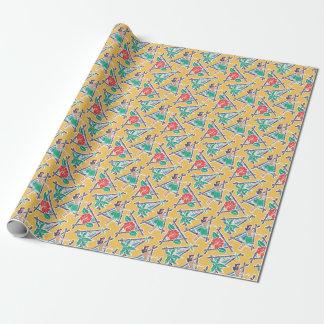 Papier Cadeau Miel de danse polynésienne - jaune - papier