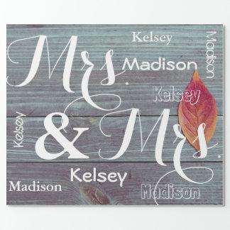 Papier Cadeau Mme et Mme Wedding/anniversaire ont personnalisé