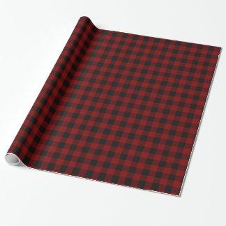 Papier Cadeau Monogramme rustique de plaid de Buffalo rouge et