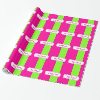 Papier Cadeau Monogramme vert rose au néon lumineux moderne