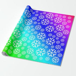 Papier Cadeau Motif blanc de flocons de neige sur le gradient