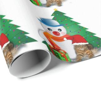Papier Cadeau Motif brillant de Noël avec le bonhomme de neige,