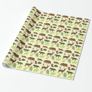 Papier Cadeau Motif d'animaux de forêt