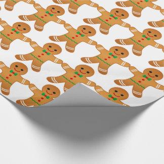 Papier Cadeau Motif de bonhommes en pain d'épice - papier