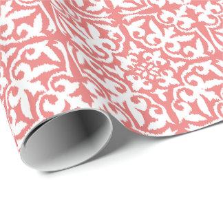 Papier Cadeau Motif de damassé d'Ikat - rose de corail et blanc