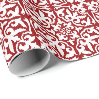 Papier Cadeau Motif de damassé d'Ikat - rouge foncé et blanc