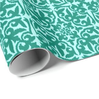 Papier Cadeau Motif de damassé d'Ikat - turquoise et Aqua
