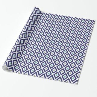 Papier Cadeau Motif de diamant d'Ikat de bleu marine et de gris
