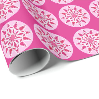 Papier Cadeau Motif de mandala dans rose, le fuchsia et le blanc