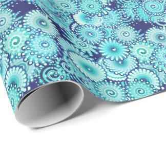 Papier Cadeau Motif de remous de fractale, nuances de bleu de