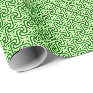 Papier Cadeau Motif de tuile, émeraude et vert de chaux
