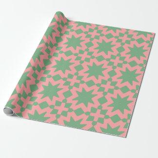 Papier Cadeau Motif décoratif chic élégant de vert et de rose