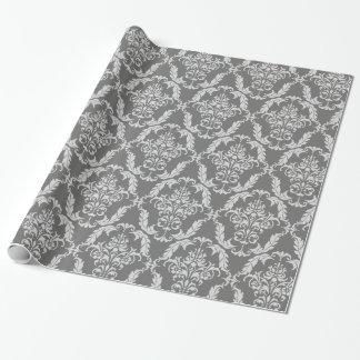 Papier Cadeau Motif gris élégant de damassé