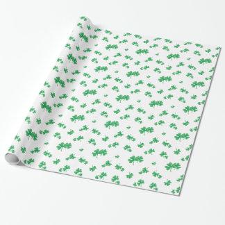Papier Cadeau Motif irlandais vert de shamrock de gradient