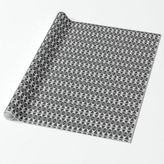 """Papier Cadeau Motif noir/blanc de harlequin avec des """"perles et"""