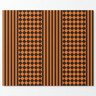 Papier Cadeau Motif noir et orange de Halloween de mélange