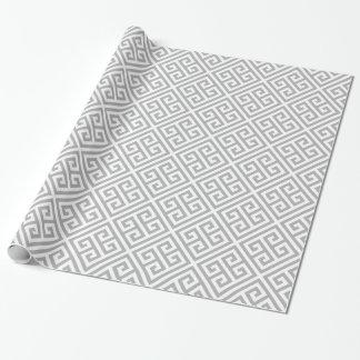 Papier Cadeau Motif principal grec gris chic de labyrinthe