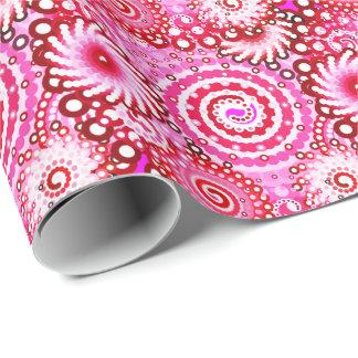 Papier Cadeau Motif, rose et rouge foncé de remous de fractale