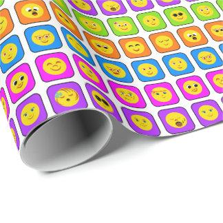 Papier Cadeau Motif souriant heureux d'émoticônes de visage