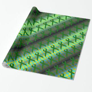 Papier Cadeau Motif standard de ruban de vert vert par K Yoncich