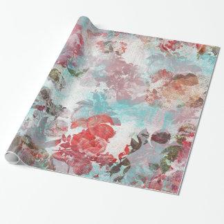 Papier Cadeau Motif turquoise floral rose chic romantique