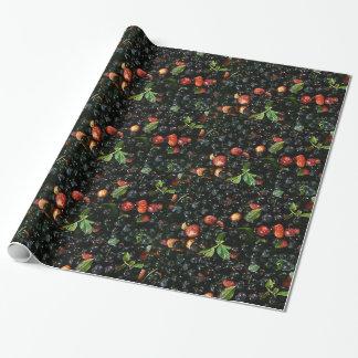 Papier Cadeau Myrtille et fraise, papier d'emballage cadeau