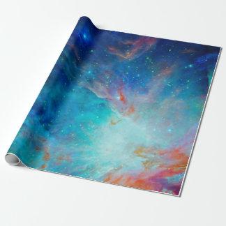 Papier Cadeau Nébuleuse d'Orion miroitant la NASA bleue