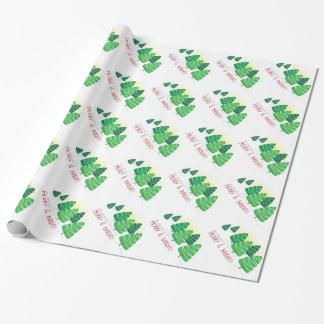 Papier Cadeau Noël d'arbres de Noël et de perles blanches
