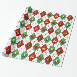 Papier Cadeau Noël décoratif ornemente élégant dans le blanc