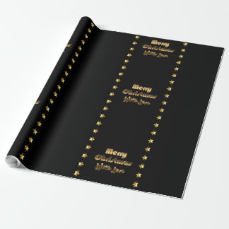 Papier Cadeau Noël élégant de Brown d'or noir Joyeux