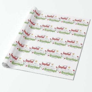 Papier Cadeau Noël joyeux de salutations enveloppant le papier