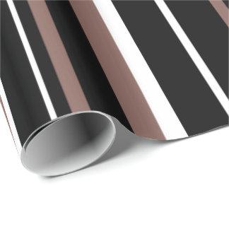 Papier Cadeau Noir, cognac Brown, et rayure blanche