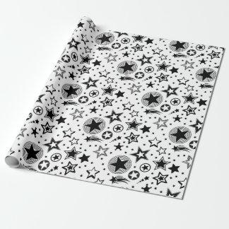 Papier Cadeau Noir de tatouages d'étoiles + vos idées