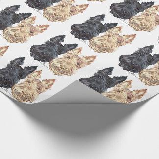 Papier Cadeau Noir et terriers écossais blonds comme les blés