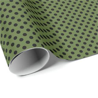 Papier Cadeau Noir sur le point de polka de vert olive