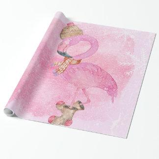 Papier Cadeau Oiseau rose mignon de flamant d'hiver de Noël