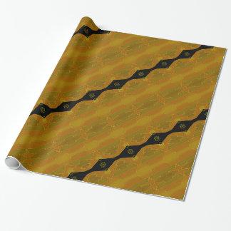 Papier Cadeau Olive moderne élégante d'or de noir de rayure