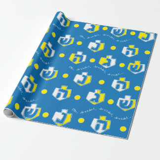 Papier Cadeau Or de Dreidel de papier d'emballage de Hanoukka