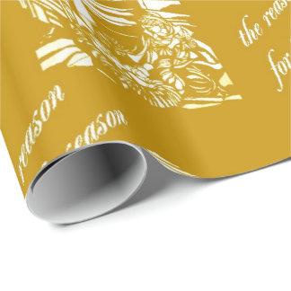 Papier Cadeau Or en verre souillé de nativité