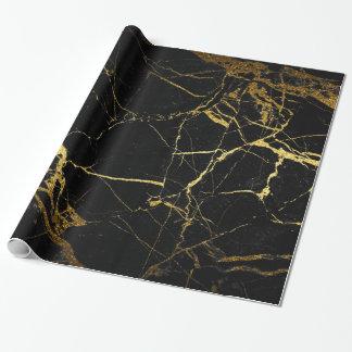 Papier Cadeau or et enveloppe de cadeau de marbre noire