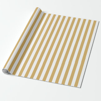 Papier Cadeau Or et rayures blanches