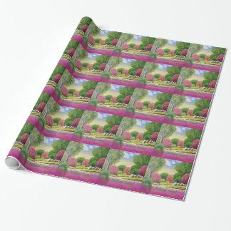 Papier Cadeau Papier arabe d'enveloppe de paysage de vert de
