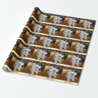 Papier Cadeau Papier blanc d'enveloppe de peinture de chien de