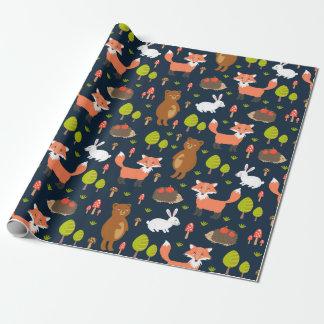 Papier Cadeau Papier d'emballage - amis de forêt (noir)