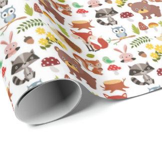 Papier Cadeau Papier d'emballage - animaux de forêt