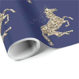 Papier Cadeau Papier d'emballage bleu de licorne prismatique